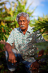Simplicio Caban, a farmer who works on the land adjacent (and owned by) the Turtle Bay Resort on Oahu's North Shore.  He is 73 years old and his children were born on the sugar plantation that was supplanted by the Turtle Bay Resort.