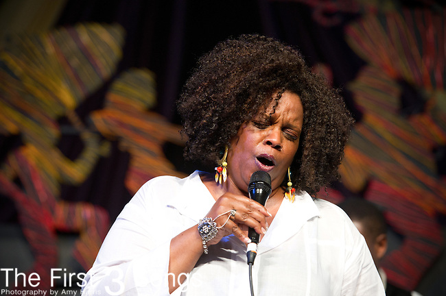 Dianne Reeves performs during the New Orleans Jazz & Heritage Festival in New Orleans, LA.