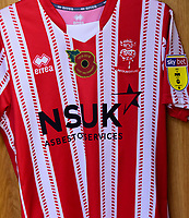 A Lincoln City shirt bearing the Poppy Emblem for Remembrance<br /> <br /> Photographer Andrew Vaughan/CameraSport<br /> <br /> The EFL Sky Bet League Two - Lincoln City v Forest Green Rovers - Saturday 3rd November 2018 - Sincil Bank - Lincoln<br /> <br /> World Copyright © 2018 CameraSport. All rights reserved. 43 Linden Ave. Countesthorpe. Leicester. England. LE8 5PG - Tel: +44 (0) 116 277 4147 - admin@camerasport.com - www.camerasport.com
