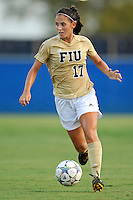 27 August 2011:  FIU's Deana Rossi (17) moves the ball upfield in the first half as the FIU Golden Panthers defeated the University of Arkon Zips, 1-0, at University Park Stadium in Miami, Florida.