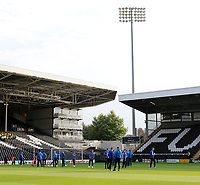 Bristol Rovers FC players on the pitch prior to the Carabao Cup match between Fulham and Bristol Rovers at Craven Cottage, London, England on 22 August 2017. Photo by Carlton Myrie.
