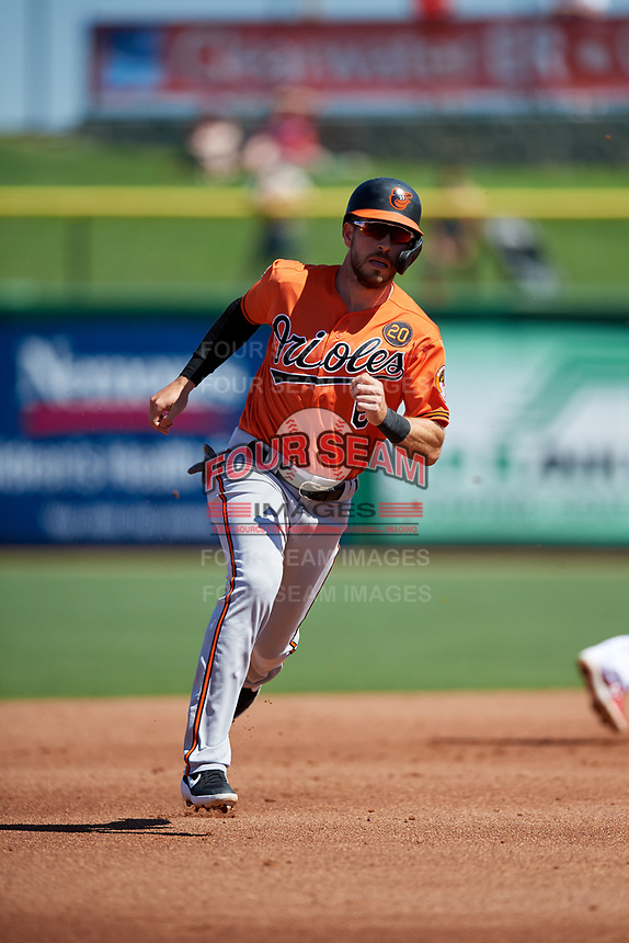 Baltimore Orioles designated hitter Drew Jackson (6) runs the bases during a Grapefruit League Spring Training game against the Philadelphia Phillies on February 28, 2019 at Spectrum Field in Clearwater, Florida.  Orioles tied the Phillies 5-5.  (Mike Janes/Four Seam Images)