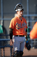 Baltimore Orioles Chris Shaw (67) during practice before an Instructional League game against the New York Yankees on September 23, 2017 at the Yankees Minor League Complex in Tampa, Florida.  (Mike Janes/Four Seam Images)