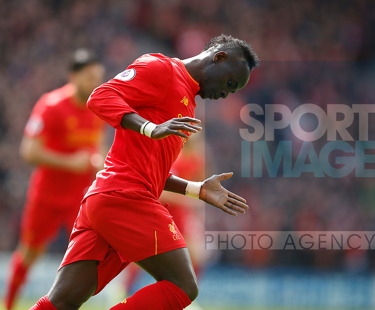 Sadio Mane of Liverpool celebrates scoring the first goal during the English Premier League match at Anfield Stadium, Liverpool. Picture date: April 1st 2017. Pic credit should read: Simon Bellis/Sportimage