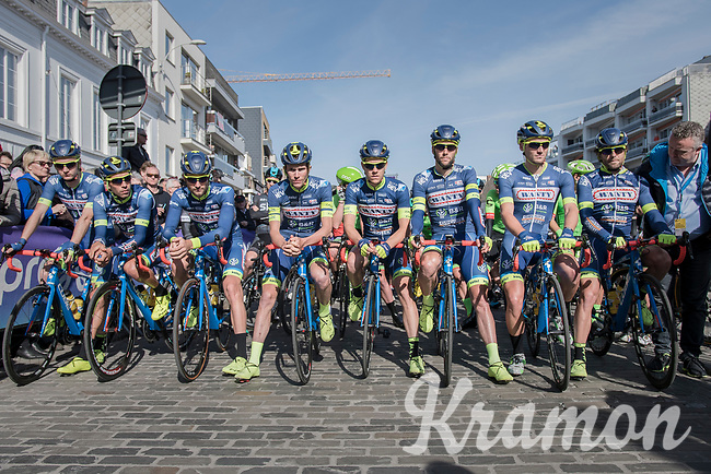 at the race start Team Wanty-Groupe Gobert is lined up in front of the peloton to commemorate late teammate Antoine Demoitié who died in a crash in this race the year before<br /> <br /> #RideForAntoine<br /> <br /> 79th Gent-Wevelgem 2017 (1.UWT)<br /> 1day race: Deinze &rsaquo; Wevelgem - BEL (249km)