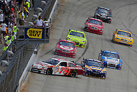 Jun 1, 2008; Dover, DE, USA; NASCAR Sprint Cup Series driver Joe Nemechek (78) crashes during the Best Buy 400 at the Dover International Speedway. Mandatory Credit: Mark J. Rebilas-US PRESSWIRE
