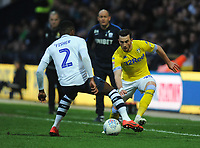 Leeds United's Jack Harrison under pressure from Preston North End's Darnell Fisher<br /> <br /> Photographer Kevin Barnes/CameraSport<br /> <br /> The EFL Sky Bet Championship - Preston North End v Leeds United -Tuesday 9th April 2019 - Deepdale Stadium - Preston<br /> <br /> World Copyright &copy; 2019 CameraSport. All rights reserved. 43 Linden Ave. Countesthorpe. Leicester. England. LE8 5PG - Tel: +44 (0) 116 277 4147 - admin@camerasport.com - www.camerasport.com