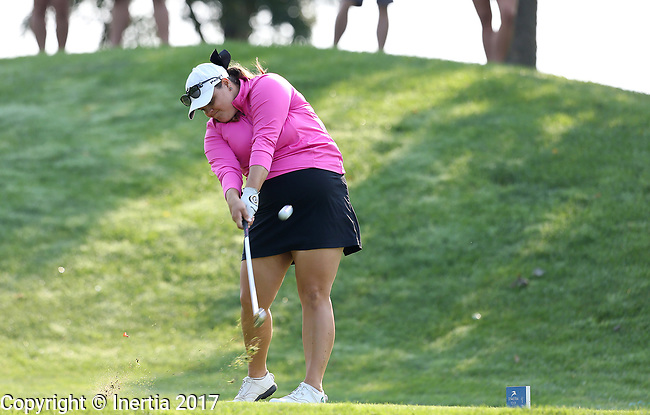 SIOUX FALLS, SD - SEPTEMBER 3: Elizabeth Nagel hits her tee shot on the 4th hole during the final round of the 2017 Great Life Challenge Symetra Tour stop at Willow Run in Sioux Falls.  (Photo by Dave Eggen/Inertia)