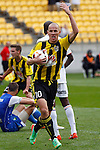 Phoenix's Stein Huysegems gestures to fans after the Phoenix level the score against the Perth Glory in the A-League football match at Westpac Stadium, Wellington, New Zealand, Sunday, March 09, 2014. Credit: Dean Pemberton