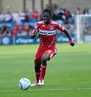 Chicago Fire forward Patrick Nyarko (14) dribbles the ball.  The Chicago Fire tied DC United 0-0 at Toyota Park in Bridgeview, IL on Oct. 16, 2010.