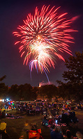 NWA Democrat-Gazette/BEN GOFF @NWABENGOFF<br /> Guests watch the fireworks display Tuesday, July 3, 2018, during the Bella Vista Independence Day Blues Festival at Loch Lomond in Bella Vista.