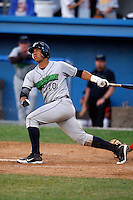 June 26, 2009:  Catcher Jose Ceballos of the Jamestown Jammers at bat during a game at Dwyer Stadium in Batavia, NY.  The Jammers are the NY-Penn League Short-Season Class-A affiliate of the Florida Marlins.  Photo by:  Mike Janes/Four Seam Images