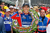 Verizon IndyCar Series<br /> Indianapolis 500 Race<br /> Indianapolis Motor Speedway, Indianapolis, IN USA<br /> Sunday 28 May 2017<br /> Takuma Sato, Michael Andretti Autosport Honda celebrates the win in Victory Lane with Indy 500 ring<br /> World Copyright: Scott R LePage<br /> LAT Images<br /> ref: Digital Image lepage-170528-indy-10659<br /> ref: Digital Image lepage-170528-indy-10782