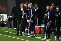 10th July 2020; Craven Cottage, London, England; English Championship Football, Fulham versus Cardiff City; Fulham Manager Scott Parker shakes hands with the Cardiff City bench after the 2-0 win