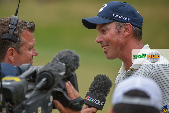 Matt Kuchar (USA) is interviewed after defeating Jon Rahm (ESP) on 18 during day 3 of the WGC Dell Match Play, at the Austin Country Club, Austin, Texas, USA. 3/29/2019.<br /> Picture: Golffile | Ken Murray<br /> <br /> <br /> All photo usage must carry mandatory copyright credit (© Golffile | Ken Murray)