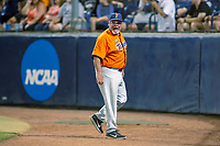 Cal State Fullerton Titans head coach Rick Vanderhook voices his displeasure with the third base umpire over the interference call during the game against the University of Washington Huskies at Goodwin Field on June 10, 2018 in Fullerton, California. The Huskies defeated the Titans 6-5. (Donn Parris/Four Seam Images)
