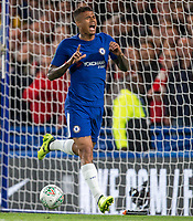 Kenedy of Chelsea celebrates scoring his goal during the Carabao Cup (Football League cup) 23rd round match between Chelsea and Nottingham Forest at Stamford Bridge, London, England on 20 September 2017. Photo by Andy Rowland.