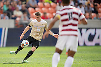 Houston, TX -  Sunday, December 11, 2016: Brad Dunwell (12) of the Wake Forest Demon Deacons brings the ball up the field in the first half against the Stanford Cardinal at the  NCAA Men's Soccer Finals at BBVA Compass Stadium.