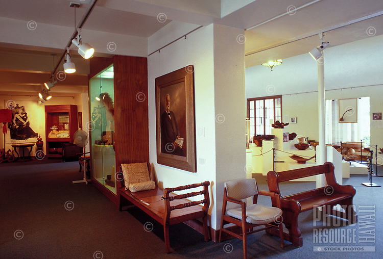 The interior of Kauai Museum in Lihue.  The museum showcases Kauai history and artifacts from earliest times to the present