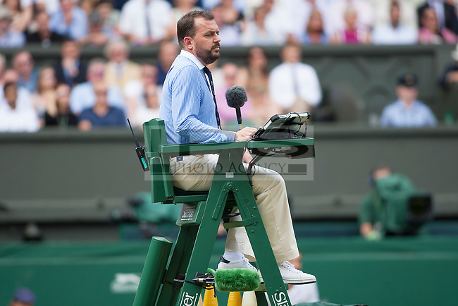Umpire Damien Dumusois in the chair for the Mens Final against Roger Federer (SUI) and Marin Cilic (CRO), Wimbledon Championships 2017, Day 13, Mens Final, All England Lawn Tennis & Croquet Club, Church Rd, London, United Kingdom - 16th July 2017
