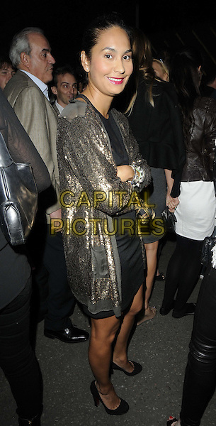 Reena Hammer.The #GUETTAMRBRAINWASH electronica music & urban art party, The Old Sorting Office, New Oxford St., London, England..August 1st, 2012.full length gold sequins sequined jacket side arms crossed  black dress .CAP/CAN.©Can Nguyen/Capital Pictures.