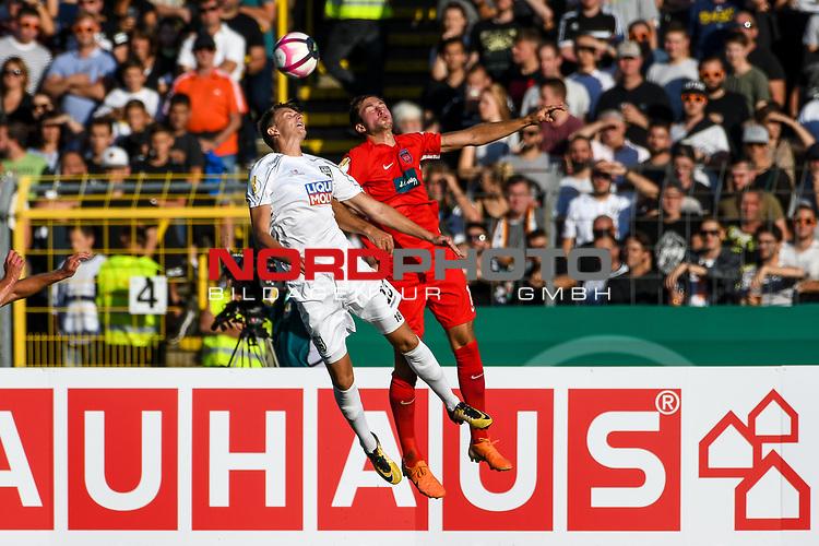 10.08.2019, Donaustadion, Ulm, GER, DFB Pokal, SSV Ulm 1846 Fussball vs 1. FC Heidenheim, <br /> DFL REGULATIONS PROHIBIT ANY USE OF PHOTOGRAPHS AS IMAGE SEQUENCES AND/OR QUASI-VIDEO, <br /> im Bild Kopfballduell, Lennart Stoll (Ulm, #18), Jonas Föhrenbach / Foehrenbach (Heidenheim, #19)<br /> <br /> Foto © nordphoto / Hafner