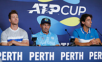 2nd January 2020; RAC Arena , Perth, Western Australia, Australia; ATP Cup Team Press conferences, Spain; Ariel Behar, Felipe Maccio and Pablo Cuevas of Uruguay at the team press conferences - Editorial Use