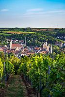 Germany; Bavaria; Lower Franconia; Ochsenfurt: town view with towers of town parish church St Andrew, the evangelic Christchurch, the Domkapitelsches Palatium, the Nicholas Tower and the 'Dicker Turm', parts of the medieval town fortification | Deutschland, Bayern, Unterfranken, Ochsenfurt: Stadtuebersicht mit den Tuermen der Stadtpfarrkirche St. Andreas und der ev. Christuskirche, dem Domkapitelsches Palatium, dem Nikolausturm und Dicker Turm, Teile der mittelalterlichen Stadtbefestigung