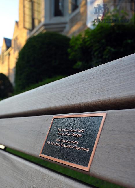 Bench dedicated to the Kuras Family..Photo by Matt Cashore/University of Notre Dame