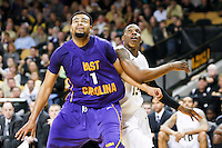 January 19, 2011: East Carolina forward Darrius Morrow (1) and Central Florida forward David Diakite (15) fight for position during a free throw during second half Conference USA NCAA basketball game action between the East Carolina Pirates and the Central Florida Knights. East Carolina defeated Central Florida 74-62 at the UCF Arena Orlando, Fl..