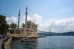 Ortakoy Mosque at Bosphorus Sea in Istanbul, Turkey