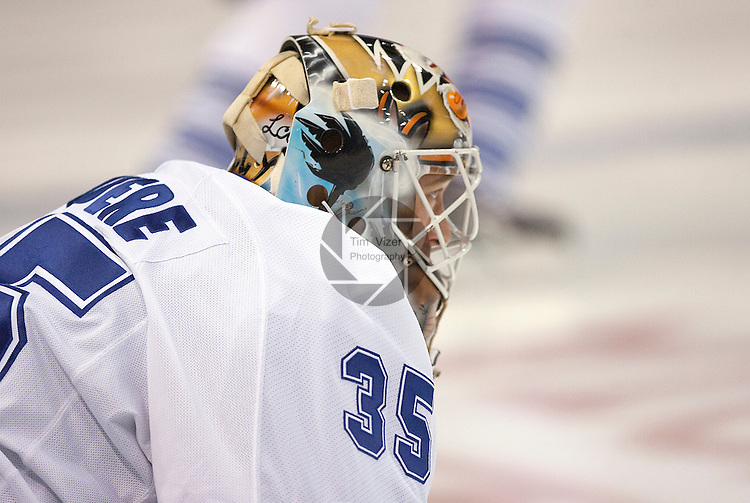 February 12,  2010       Toronto Maple Leafs goalkeeper Jean-Sebastien Giguere (35) during warmups before the game against the Blues.   The St. Louis Blues hosted the Toronto Maple Leafs on Friday February 12, 2010 at the Scottrade Center in downtown St. Louis.  The Blues won, 4-0.