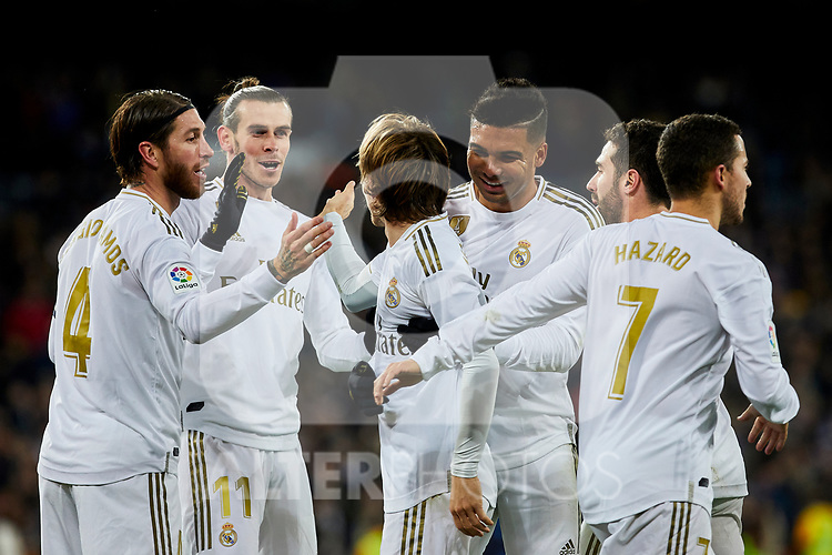 (L-R) Sergio Ramos, Gareth Bale, Luka Modric, Carlos Henrique Casimiro and Eden Hazard of Real Madrid celebrate goal during La Liga match between Real Madrid and Real Sociedad at Santiago Bernabeu Stadium in Madrid, Spain. November 23, 2019. (ALTERPHOTOS/A. Perez Meca)