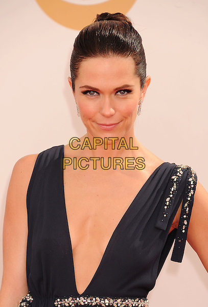 Katie Aselton<br /> arrives at the 65th Annual Primetime Emmy Awards at Nokia Theatre L.A. Live in Los Angeles, California, USA, <br /> September 22nd 2013. <br /> emmys arrivals portrait headshot hair up  black dress plunging neckline long maxi sleeveless <br /> CAP/ROT/TM<br /> &copy;TM/Roth Stock/Capital Pictures
