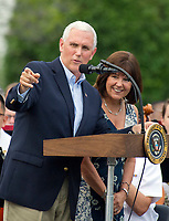 United States Vice President Mike Pence and his wife Karen, introduce US President Donald J. Trump and first lady Melania Trump as they host the annual Congressional Picnic on the South Lawn of the White House in Washington, DC on Thursday, June 22, 2017.<br /> Credit: Ron Sachs / CNP /MediaPunch