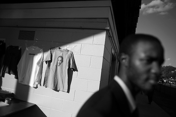 November 1, 2007. Durham, NC.. US senator and presidential candidate, Barack Obama, held a fundraiser at O?Kelly Riddick Stadium, at North Carolina Central University, in Durham, NC.. Merchandise for sale.