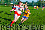 St. Pats Liam O'Sullivan gets away from Beaufort's  Brendan Cronin  at the county league Div 3 St Pats Blennerville v Beaufort at Blennerville on Saturday