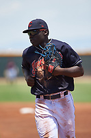 AZL Indians Blue first baseman Jhonkensy Noel (44) during an Arizona League game against the AZL Indians Red on July 7, 2019 at the Cleveland Indians Spring Training Complex in Goodyear, Arizona. The AZL Indians Blue defeated the AZL Indians Red 5-4. (Zachary Lucy/Four Seam Images)