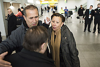 www.acepixs.com<br /> <br /> January 28 2017, New York City<br /> <br /> Congressman Jerrold Nadler (L), Hameed Khalid Darweesh, and Congresswoman Nydia M. Vel&aacute;zquez (R) celebrate Darweesch's release from Immigration at JFK Airport on January 28 2017 in New York City. Darweesh, who has been an Army interpreter in Iraq, was traveling with his wife and three kids when agents pulled him aside at John F. Kennedy International Airport following President Trump's controversial executive order that halted refugees and residents from predominantly Muslim countries from entering the United States <br /> <br /> By Line: Solar/ACE Pictures<br /> <br /> ACE Pictures Inc<br /> Tel: 6467670430<br /> Email: info@acepixs.com<br /> www.acepixs.com