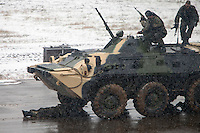 Krasnoarmeysk, Moscow Region, Russia, 29/10/2010..An armoured personnel carrier drives over a soldier lying on the ground during Russian special forces training at a military base outside Moscow. The exercise was part of the Interpolitex 2010 state security exhibition.