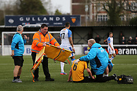 A stretcher is brought onto the pitch for Aron Davies of Maidstone United who lies on the ground after suffering a painful injury during Maidstone United vs Havant and Waterlooville, Vanarama National League Football at the Gallagher Stadium on 9th March 2019