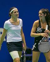 18-12-13,Netherlands, Rotterdam,  Topsportcentrum, Tennis Masters, Rosalie van der Hoek and Valeria Podda (R)<br /> Photo: Henk Koster