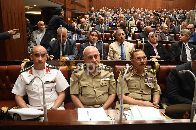 Members of legislative committee in Egypt's parliament attend a meeting to discuss a government agreement to hand over two Red Sea islands Tiran and Sanafir to Saudi Arabia, in Cairo, Egypt, on June 12, 2017. Photo by Stranger