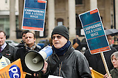 PCS Negotiations Officer Tom Taylor speaks in support of a National Gallery staff walk-out in protest at a pay offer which falls below the London Living Wage for most Gallery Assistants.
