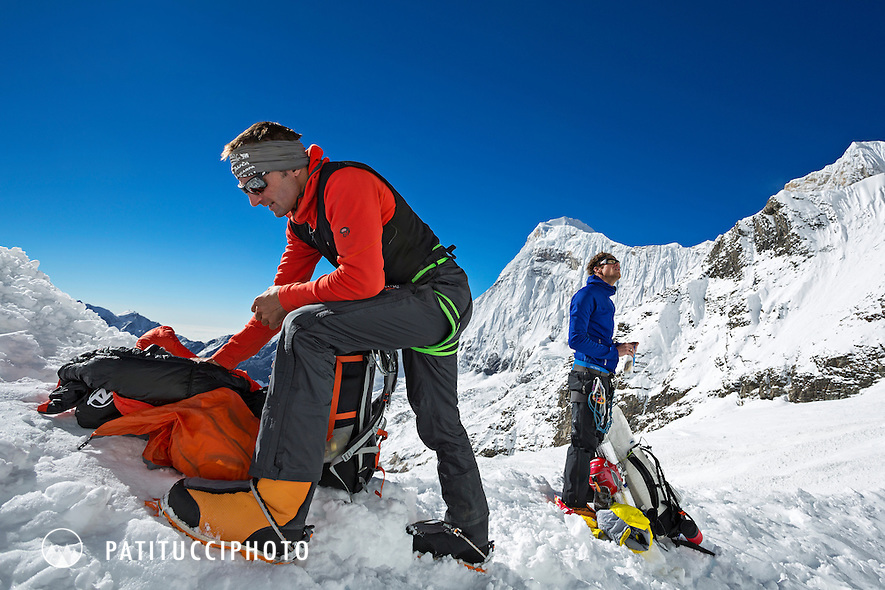 Ueli Steck returned to Nepal and the Annapurna south face in 2013 which he climbed solo, without oxygen, in one 28 hour alpine push, via a new route. The trip was his third attempt to climb the 8000 meter peak. Ueli preparing his pack moments before starting to climb.