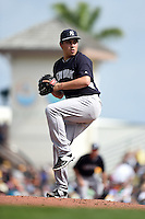 New York Yankees pitcher Cesar Vargas (85) during a Spring Training game against the Pittsburgh Pirates on March 5, 2015 at McKechnie Field in Bradenton, Florida.  New York defeated Pittsburgh 2-1.  (Mike Janes/Four Seam Images)
