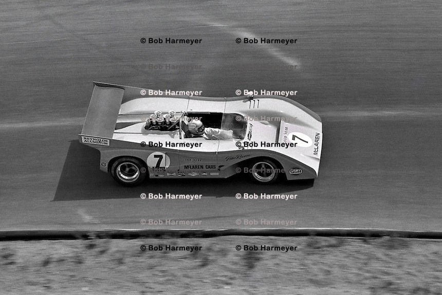 Peter Revson drives the 1971 McLaren Chevrolet in the SCCA Can-Am event at Le Circuit Mont Tremblant, St. Jovite, Quebec, Canada.