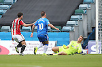 Gillingham's Cody McDonald sees his shot saved by Sheffield United's Simon Moore during the League One match at the Priestfield Stadium, Gillingham. Picture date: September 4th, 2016. Pic David Klein/Sportimage