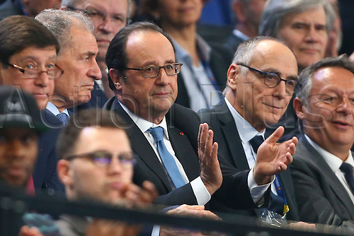 11.01.2017. Accor Arena, Paris, France. 25th World Handball Championships France versus Brazil. President Francois Hollande and Joel Delplanque ( President FFH ) watch the match