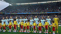 SAO PAULO - BRASIL -09-07-2014. Jugadores de Argentina (ARG) durante los actos protocolarios previo al partido de las semifinales contra Holanda (NED) por la Copa Mundial de la FIFA Brasil 2014 jugado en el estadio Arena de Sao Paulo./ Players of Argentina (ARG) during the formal events prior the match of the Semifinal against Netherlands (NED) for the 2014 FIFA World Cup Brazil played at Arena de Sao Paulo stadium. Photo: VizzorImage / Alfredo Gutiérrez / Contribuidor